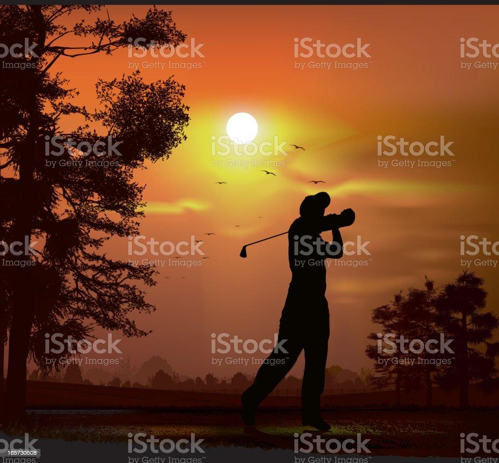 Golfer at dusk royalty-free stock vector art