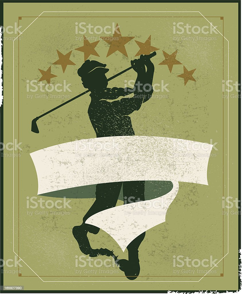 Retro style banner background illustration of a golfer teeing off....