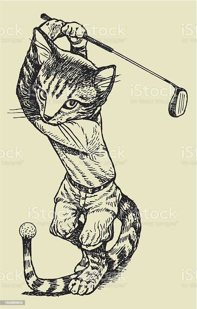 Golfer Cat Swinging Club vector art illustration