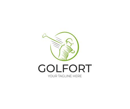 Golfer Logo design. Golf Club Vector Design. Sport Line Illustration