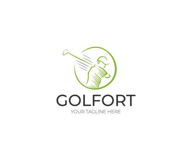 Golfer Logo design. Golf Club Vector Design. Sport Line Illustration Golfer Logo design. Golf Club Vector Design. Sport Line Illustration golf logo stock illustrations