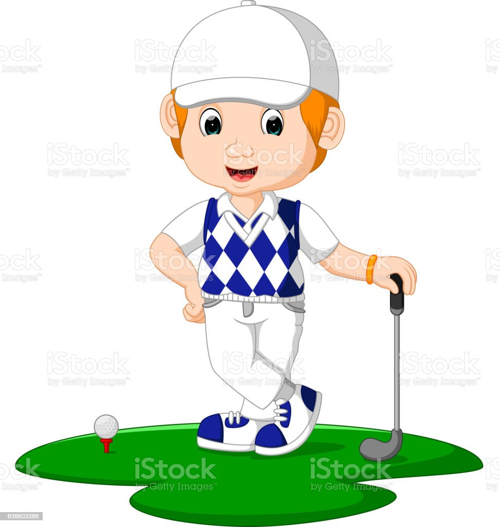 Golfer Man Cartoon vector art illustration