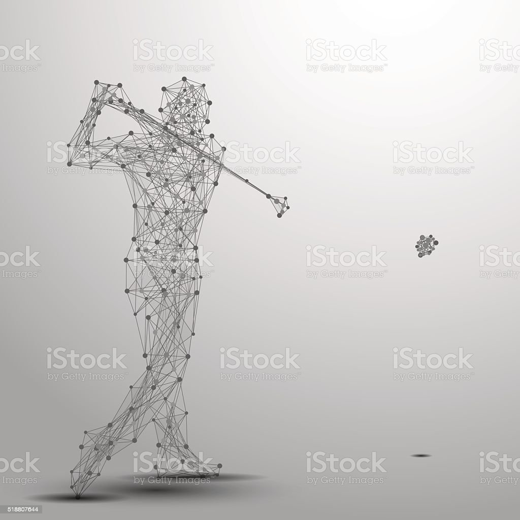 golfer poly gray vector art illustration