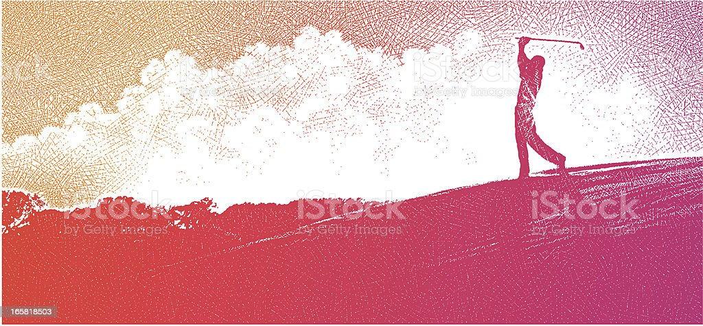 Golfer Silhouette At Sunset royalty-free stock vector art