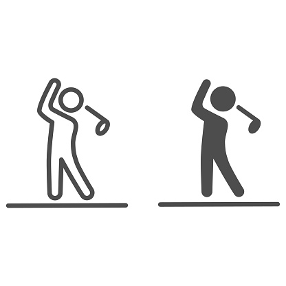 Golfer silhouette line and solid icon, golf concept, Man swinging golf sign on white background, Golf player icon in outline style for mobile concept and web design. Vector graphics.