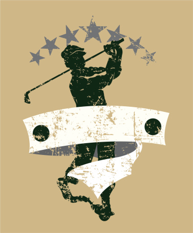 Golfer Swinging Golf Club Teeing Off Vintage Banner