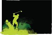 Golfer Teeing Off - Golf Grunge Graphic Background