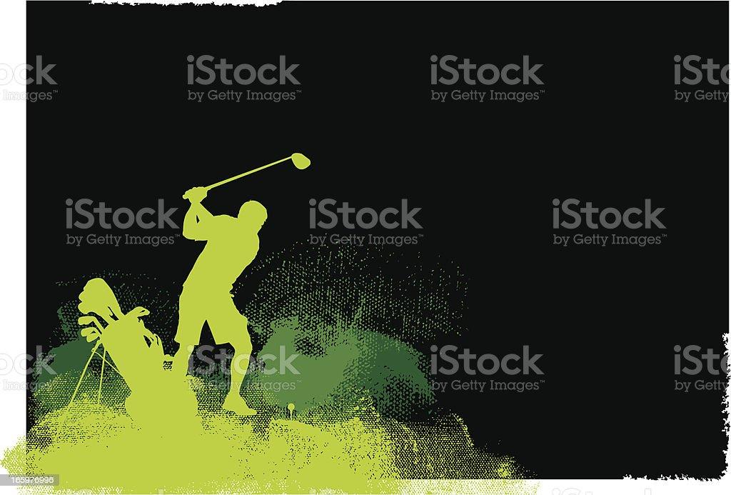 Golfer Teeing Off - Golf Grunge Graphic Background vector art illustration