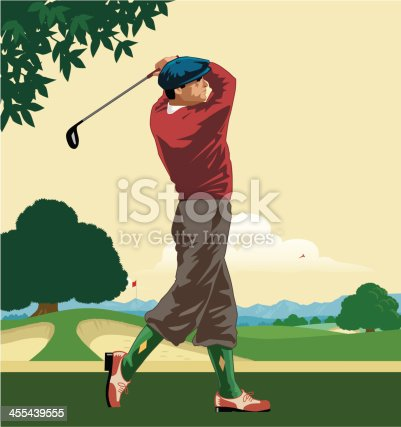 Art Deco style Golfer in swing. Golf course with fairway, bunkers, pin with flag and background of trees an mountains. Art on layers and easily edited. Download includes a large high res jpeg.