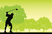Golfer teeing Off with Golf Club - Background