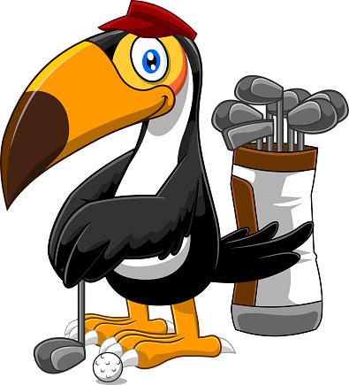 Golfer Toucan Bird Cartoon Character