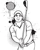 Grunge golfer black and white line art. All splatter and halftone easily removed.
