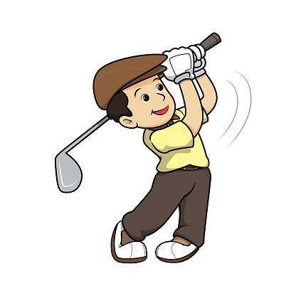 Golfers wearing yellow shirts And a brown hat Being in the swinging posture position In a white background for assembling or creating teaching materials for moms doing homeschooling and teachers.