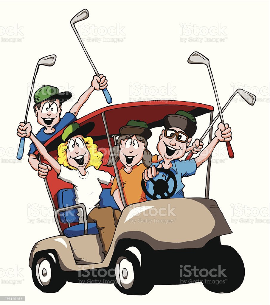 Golfing Family Stock Illustration - Download Image Now ...