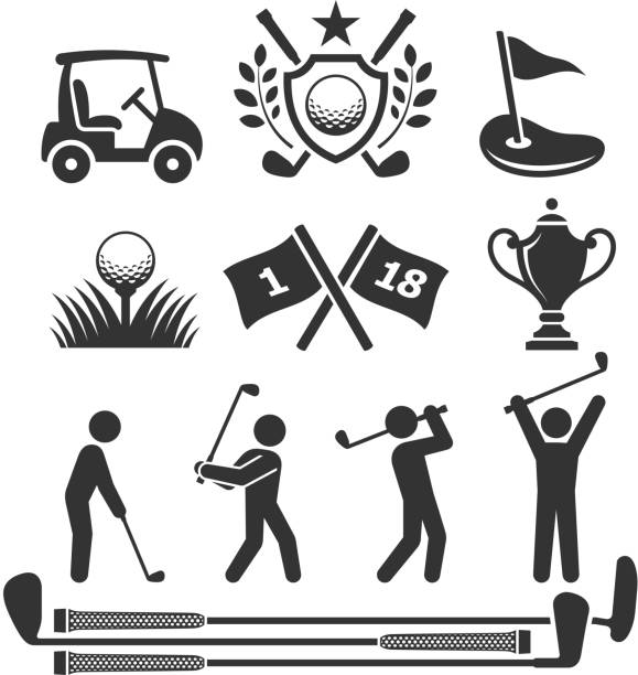 Golfing icons and stick figures Golf Country Club Tournament black & white icon set major military rank stock illustrations