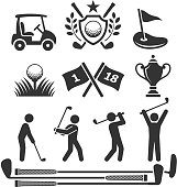 Golfing icons and stick figures