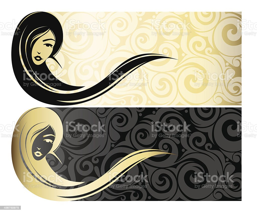 Golg girl with long hair vector art illustration