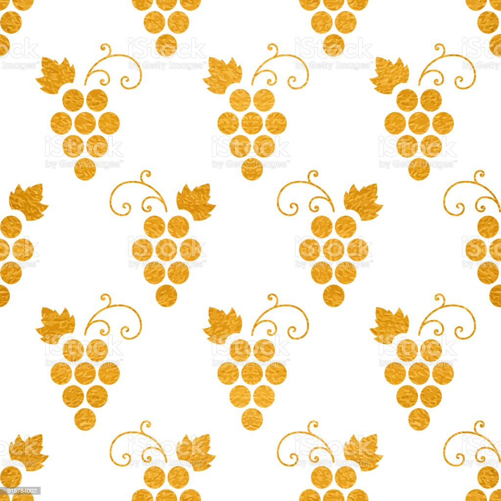 Golg textured seamless pattern of grapes on white background. Vintage...