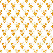 Golg textured seamless pattern of grapes on white background. Vintage design for paper packaging, wrapping paper, banner, invitation, card, certificate, menu. Vector illustration.
