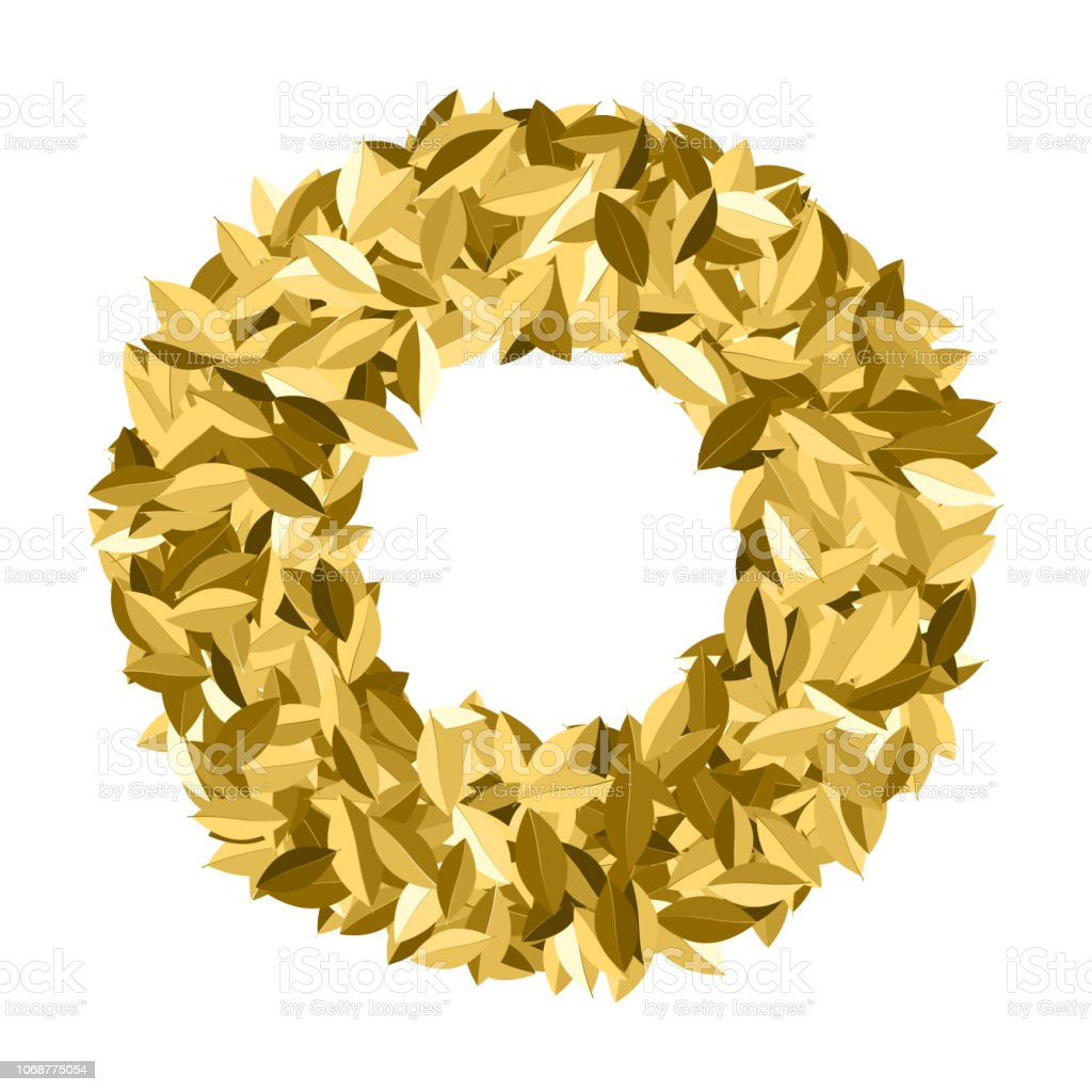 Gold award laurel wreath isolated on white. Winner frame. Golgen leaf...