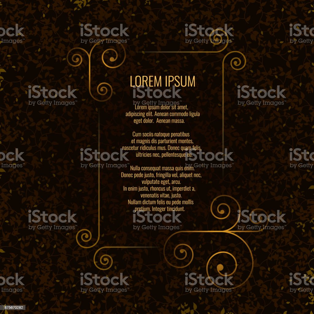 Golsden frame on dark background. Vector illustration of golden frame with text on dark background. vector art illustration