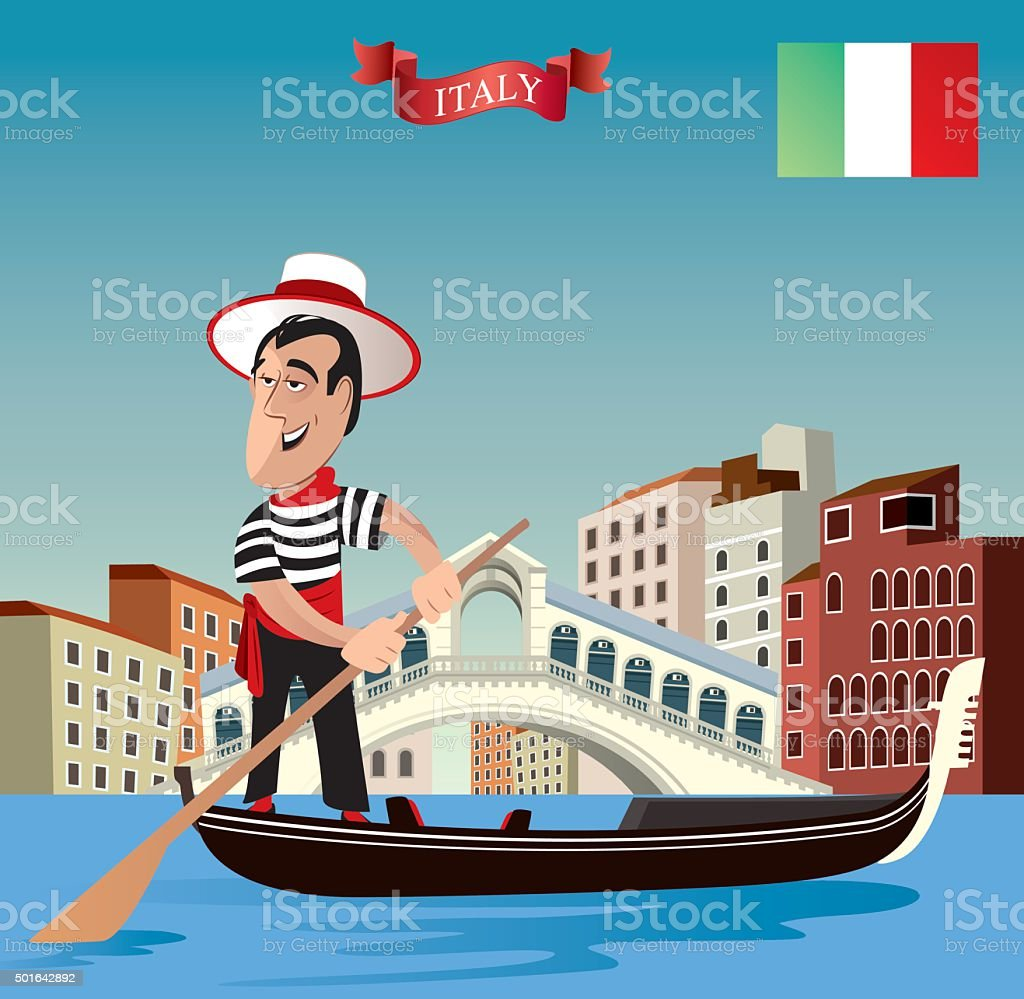 Gondolier vector art illustration