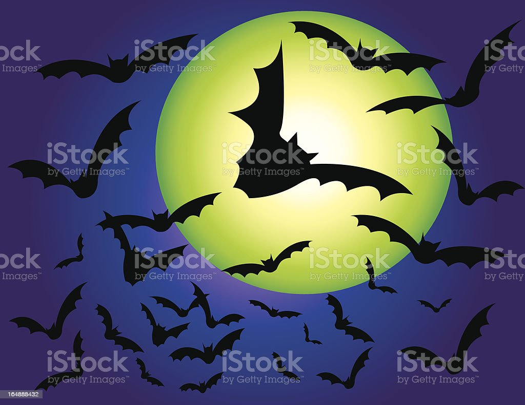 gone batty vector art illustration
