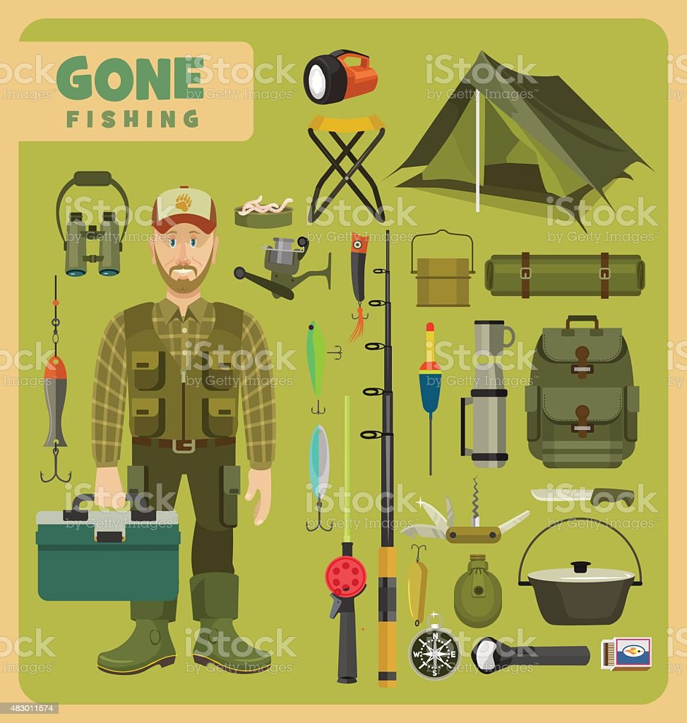 Gone fishing vector art illustration