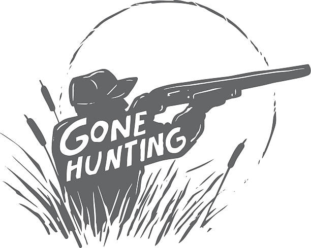 gone hunting shooter silhouette of a man shooting with the text 'gone hunting' bird hunting stock illustrations