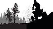 A vector silhouette illustration of a 4-wheeler racers riding along rough terrain.