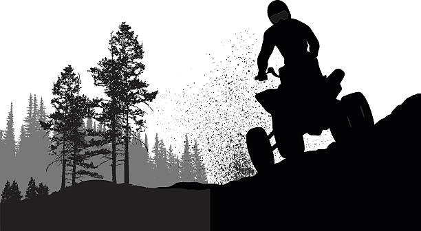 Gone Quading A vector silhouette illustration of a 4-wheeler racers riding along rough terrain. quadbike stock illustrations