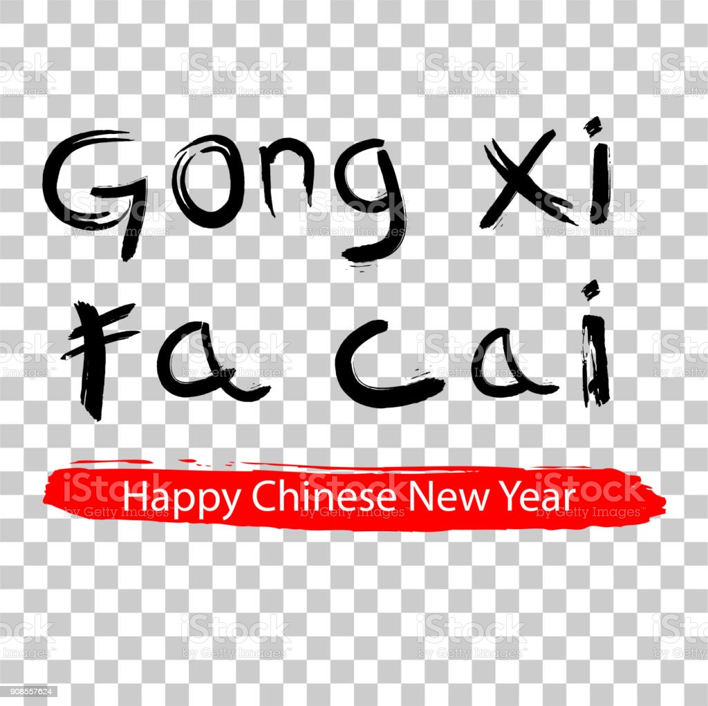 gong xi fa cai imlek chinese new year greeting at red big marker streak