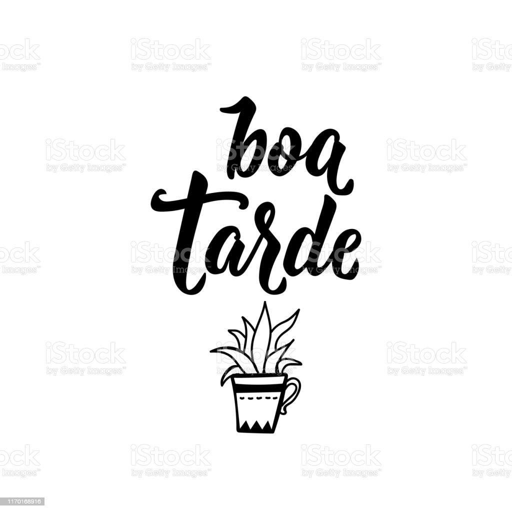 Guten Nachmittag Auf Portugiesisch Tintenabbildung Mit