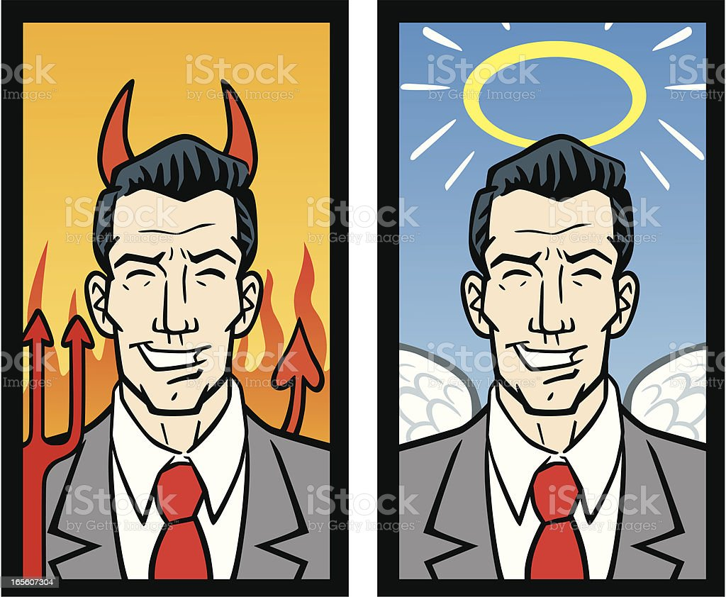 Good and Bad Business Men vector art illustration