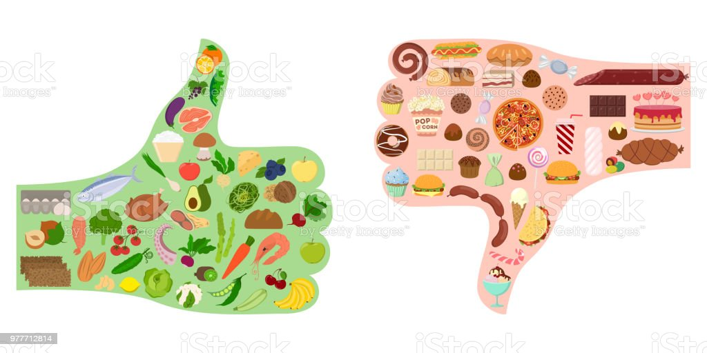 Good and bad food. royalty-free good and bad food stock illustration - download image now