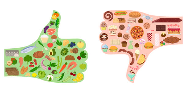 good and bad food. - healthy eating stock illustrations, clip art, cartoons, & icons