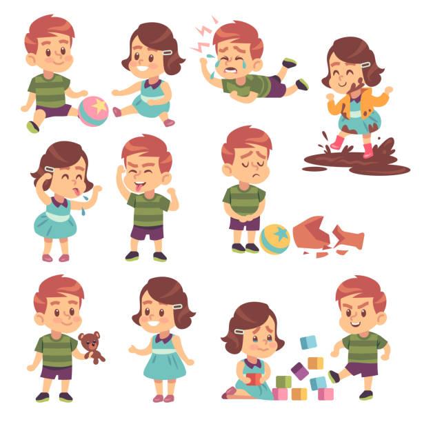 stockillustraties, clipart, cartoons en iconen met goede en slechte kinderen. spelen rustig en vechten, ondeugende en gehoorzame kinderen, conflict en grappige jongens en meisjes cartoon vector karakters - baby dirty