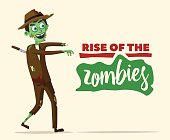 Good and bad zombie character. Cartoon vector illustration