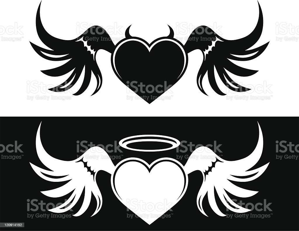 Good And Evil Heart Stock Vector Art More Images Of Angel Istock
