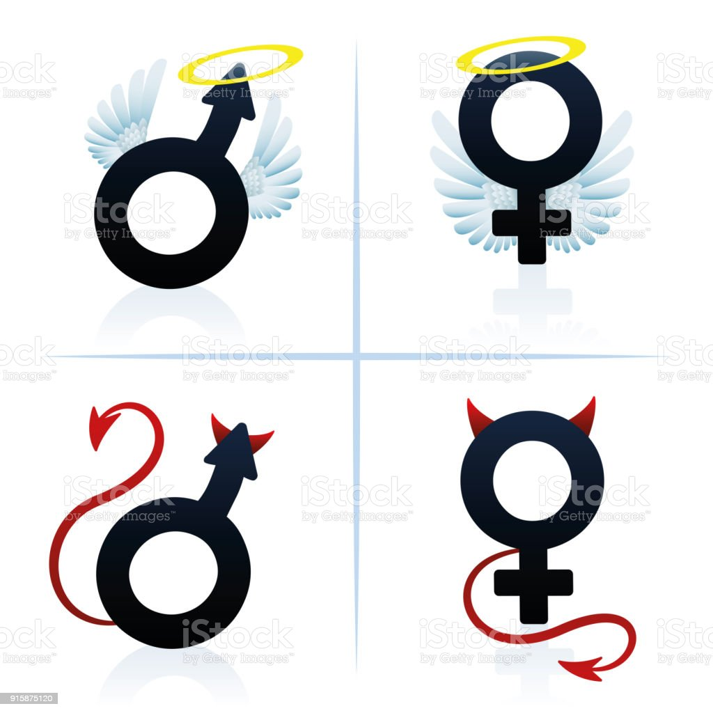 Good And Evil Man And Woman Male And Female Angel And Devil Symbols