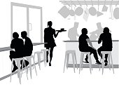Silhouette vector illustration of a casual restaurant and customers sitting to eat.
