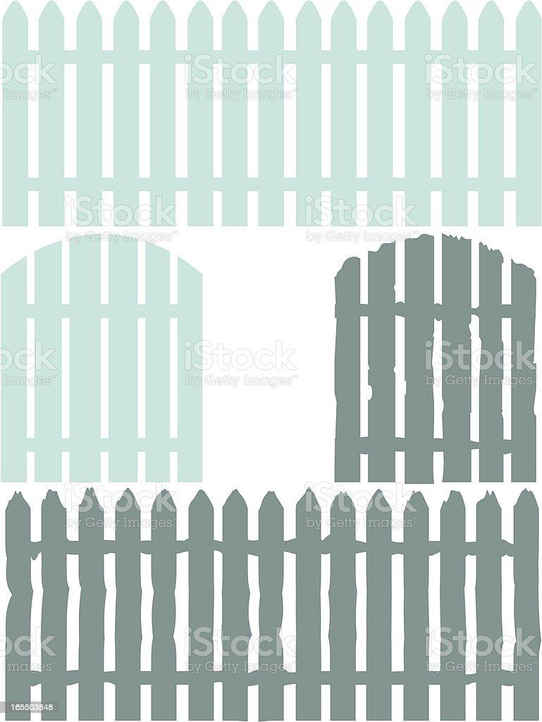 Good /Bad Fence royalty-free stock vector art