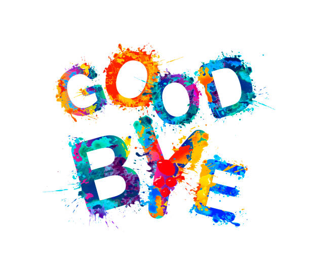 good bye! splash paint letters - good bye stock illustrations, clip art, cartoons, & icons