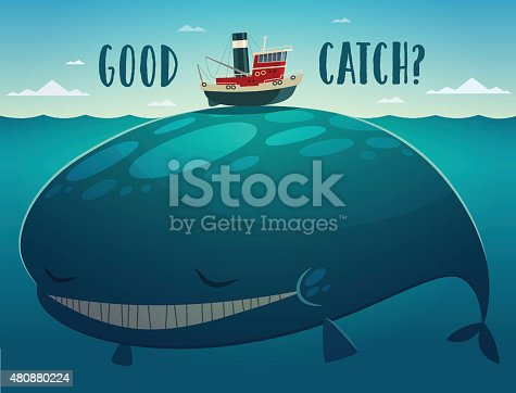 Tiny tugboat has catch a big whale. Vector illustration.