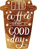 Good coffee means a good day lettering