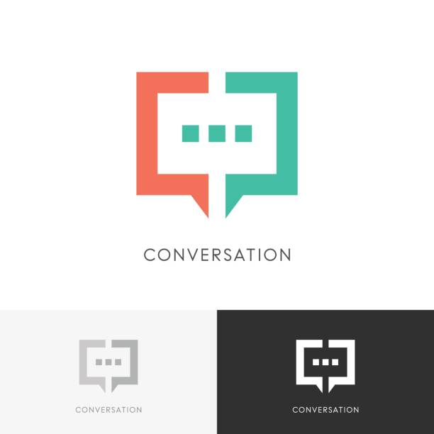Good conversation symbol Good conversation - colored chat symbol. Discussion, dialogue and talk vector icon. debate stock illustrations