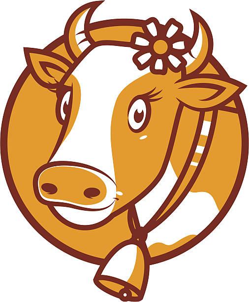 gute kuh lächeln emblem - lustige kuh bilder stock-grafiken, -clipart, -cartoons und -symbole
