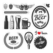 Good craft beer brewery labels, emblems and design elements. Vintage vector set