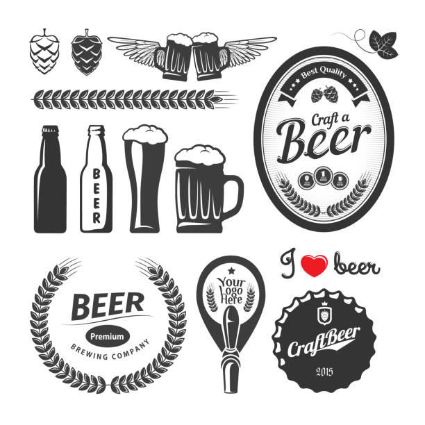 Good craft beer brewery labels, emblems and design elements. Vintage vector set Good craft beer brewery labels, emblems and design elements. Vintage vector set beer stock illustrations