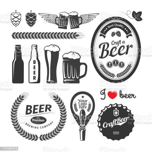 Good Craft Beer Brewery Labels Emblems And Design Elements Vintage Vector Set — стоковая векторная графика и другие изображения на тему Алкоголь - напиток